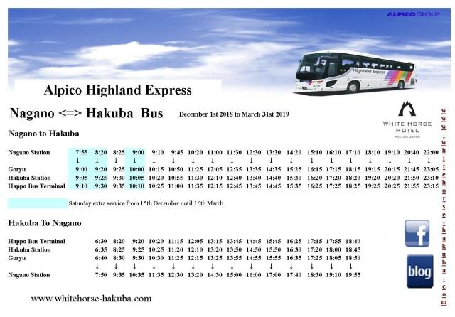 Nagano to Hakuba bus timetable 2018 - 2019